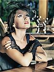 Fashion woman retro portrait in a restaurant Stock Photo - Royalty-Free, Artist: GoodOlga                      , Code: 400-05348726