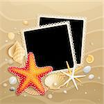 Pictures, shells and starfishes on sand background. Vector illustration. Stock Photo - Royalty-Free, Artist: avian                         , Code: 400-05348757