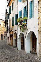 street in Italy, Padova, terrace with flowerpots and plants Stock Photo - Royalty-Freenull, Code: 400-05349125