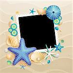 Pictures, shells and starfishes on sand background. Vector illustration. Stock Photo - Royalty-Free, Artist: avian                         , Code: 400-05353096