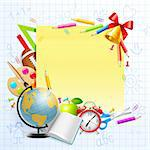 Back to school background with stationery and place for text. Vector illustration. Stock Photo - Royalty-Free, Artist: avian                         , Code: 400-05353100
