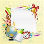 Back to school background with stationery and place for text. Vector illustration Stock Photo - Royalty-Free, Artist: avian                         , Code: 400-05353101