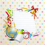 Back to school greeting card with stationery. Vector illustration. Stock Photo - Royalty-Free, Artist: avian                         , Code: 400-05353102