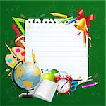 Back to school greeting card with stationery. Vector illustration Stock Photo - Royalty-Free, Artist: avian                         , Code: 400-05353103
