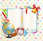 Back to school background with stationery and place for text. Vector illustration. Stock Photo - Royalty-Free, Artist: avian                         , Code: 400-05353104