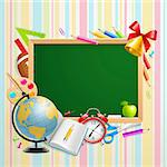 Back to school background with place for text and stationery. Vector illustration. Stock Photo - Royalty-Free, Artist: avian                         , Code: 400-05353105