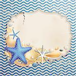 Vintage greeting card with shells and starfishes and place for text. Stock Photo - Royalty-Free, Artist: avian                         , Code: 400-05353110