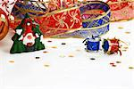 christmas decorative ribbon and toys on white Stock Photo - Royalty-Free, Artist: simply                        , Code: 400-05353175