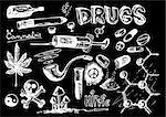 hand drawn drugs isolated on the white background