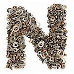 alphabet made of bolts - The letter n
