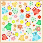 wallpaper with funny cartoon owl with flowers background Stock Photo - Royalty-Free, Artist: fotoscool                     , Code: 400-05355048
