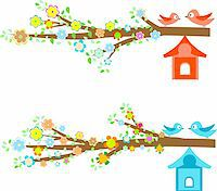 Cards with couples of birds sitting on branches and birdhouses Stock Photo - Royalty-Freenull, Code: 400-05355054