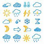 Weather icons doodles hand drawn set on white Stock Photo - Royalty-Free, Artist: sermax55                      , Code: 400-05355235