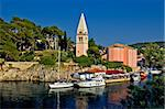 Veli losinj panoramic - church & safe harbour view - tourist paradise Stock Photo - Royalty-Free, Artist: xbrchx                        , Code: 400-05355828