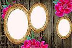 vintage paper frames over grunge wood background
