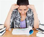 A stressed student is doing her homework Stock Photo - Royalty-Free, Artist: 4774344sean                   , Code: 400-05357560