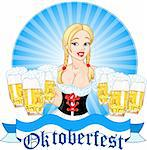 Illustration of Oktoberfest girl serving beer Stock Photo - Royalty-Free, Artist: Dazdraperma                   , Code: 400-05358416