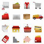 Shopping symbols icon set on white Stock Photo - Royalty-Free, Artist: soleilc                       , Code: 400-05358794