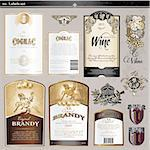 Set of labels and designed elements for wine and spirits Stock Photo - Royalty-Free, Artist: tanjakrstevska                , Code: 400-05359011