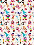 cartoon happy circus seamless pattern Stock Photo - Royalty-Free, Artist: notkoo2008                    , Code: 400-05359213