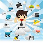 Cloud network,with business man.   Stock Photo - Royalty-Free, Artist: notkoo2008                    , Code: 400-05359220