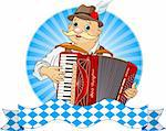 Oktoberfest Accordion Player  with stripe for text Stock Photo - Royalty-Free, Artist: Dazdraperma                   , Code: 400-05361538