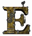 steampunk letter e on white background - 3d illustration Stock Photo - Royalty-Free, Artist: drizzd                        , Code: 400-05361837