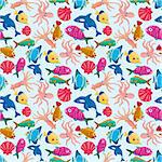 cartoon fish seamless pattern Stock Photo - Royalty-Free, Artist: notkoo2008                    , Code: 400-05361893