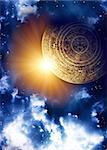 Vertical background with Maya calendar and space scene Stock Photo - Royalty-Free, Artist: frenta                        , Code: 400-05362743