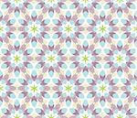 Seamless vector pattern with flowers and leaves in blue, purple, green