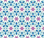 Stylish design with seamless blue and purple flowers