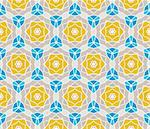 Seamless pattern with squares, lines and yellow roses