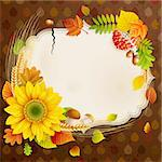 Autumn vintage greeting card with colorful leaves and place for text. Vector illustration. Stock Photo - Royalty-Free, Artist: avian                         , Code: 400-05363913