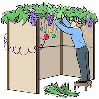 A vector illustration of a Jewish guy standing on a stool and building a Sukkah for the Jewish holiday Sukkot. Stock Photo - Royalty-Freenull, Code: 400-05364304