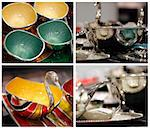Colorful decorative utensils made of stainless steel Stock Photo - Royalty-Free, Artist: smarnad                       , Code: 400-05364505
