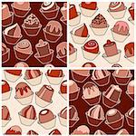 Set of seamless patterns with different chocolate sweets. Four variants of shape and color Stock Photo - Royalty-Free, Artist: nurrka                        , Code: 400-05364509