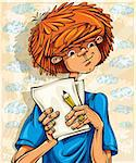 Teen boy, hairy red head, with pencil and paper sheets, young artist. Vector illustration. Stock Photo - Royalty-Free, Artist: Sylverarts                    , Code: 400-05364529
