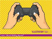 A vector of hands holding a joystick, representing the lifestyle of nowadays children that play with their console often. Available as a Vector in EPS8 format that can be scaled to any size without loss of quality. Good for many uses & application, colors easily changed. Stock Photo - Royalty-Freenull, Code: 400-05364541