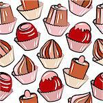 Seamless pattern with sweets on white background Stock Photo - Royalty-Free, Artist: nurrka                        , Code: 400-05364553