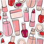 Seamless pink pattern with various stylized cosmetics Stock Photo - Royalty-Free, Artist: nurrka                        , Code: 400-05364555