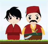 vector illustration of a traditional turkish couple Stock Photo - Royalty-Freenull, Code: 400-05366491