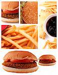 A collage of burger, french fries and aerated drink Stock Photo - Royalty-Free, Artist: smarnad                       , Code: 400-05367202