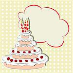 Card with cake Stock Photo - Royalty-Free, Artist: Ateli                         , Code: 400-05367888