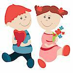 Pretty girl and boy look at each other isolated Stock Photo - Royalty-Free, Artist: nurrka                        , Code: 400-05371231