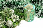 Decorative candle over green new year adorning Stock Photo - Royalty-Free, Artist: simply                        , Code: 400-05371388