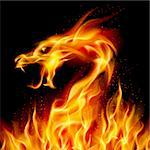Abstract fiery dragon. Illustration number two on black background for design Stock Photo - Royalty-Free, Artist: dvarg                         , Code: 400-05371850