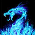 Abstract blue fiery dragon. Illustration number two on black background for design Stock Photo - Royalty-Free, Artist: dvarg                         , Code: 400-05371851