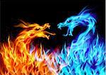 Abstract blue and red fiery dragons. Illustration on black background for design Stock Photo - Royalty-Free, Artist: dvarg                         , Code: 400-05371852