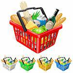 Shopping basket with foods. Realistic illustration for design Stock Photo - Royalty-Free, Artist: dvarg                         , Code: 400-05371853