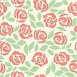 Vector rose seamless flower background pattern, floral fabric vintage wallpaper. Cute backdrop.